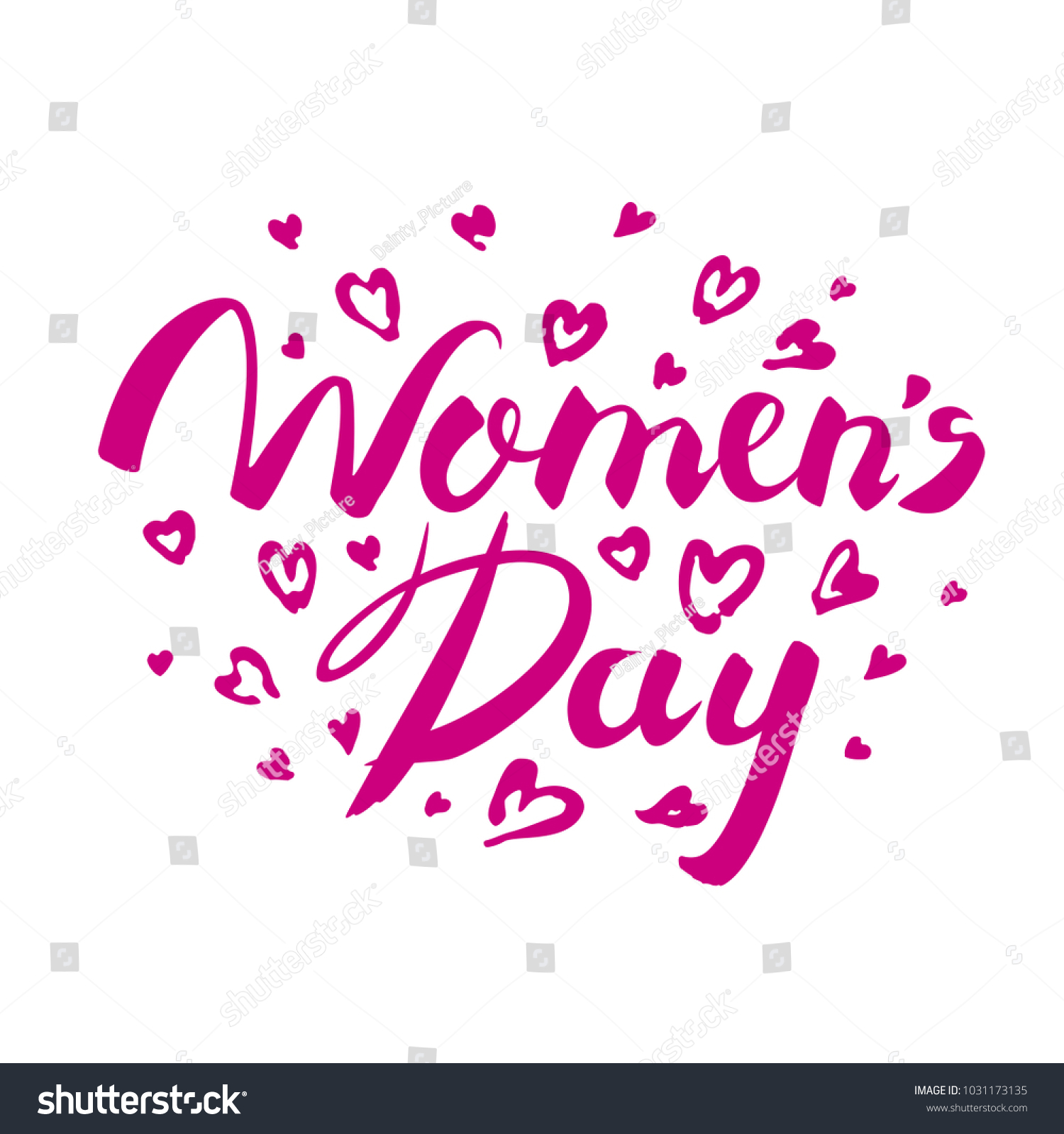 Happy Womens Day Banner Hand Lettering Womens Day Greeting Card