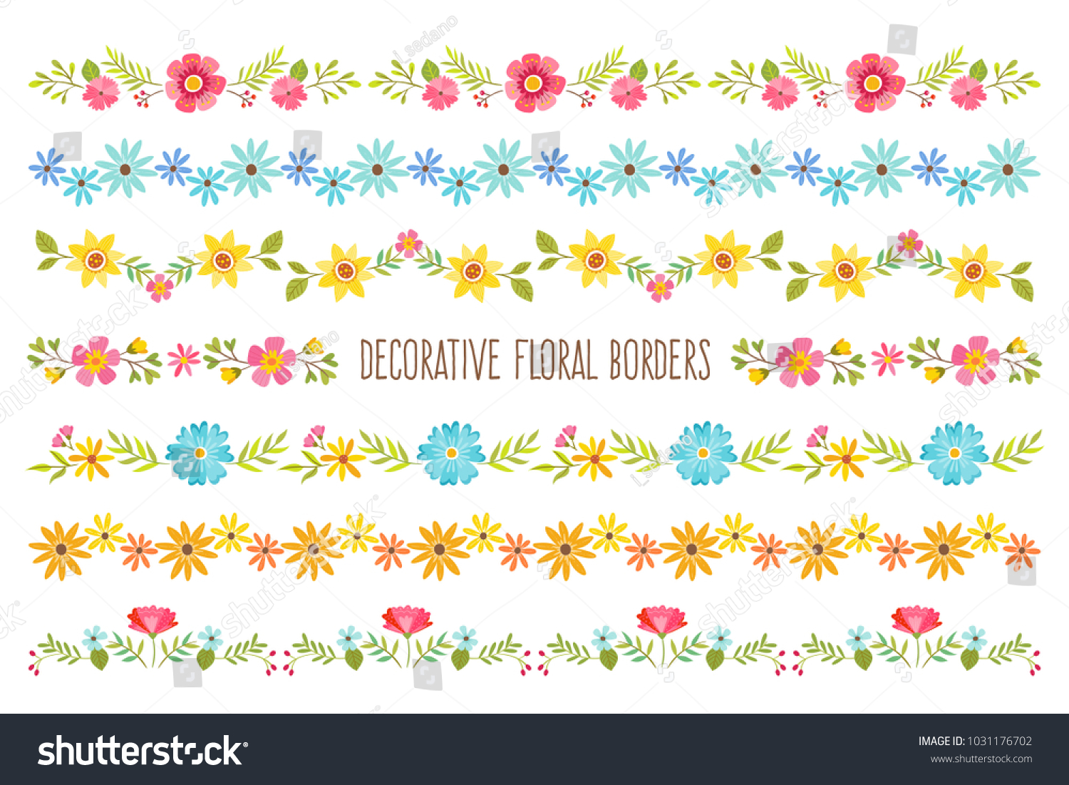 Set Colorful Decorative Floral Borders Perfect Stock Vector Royalty