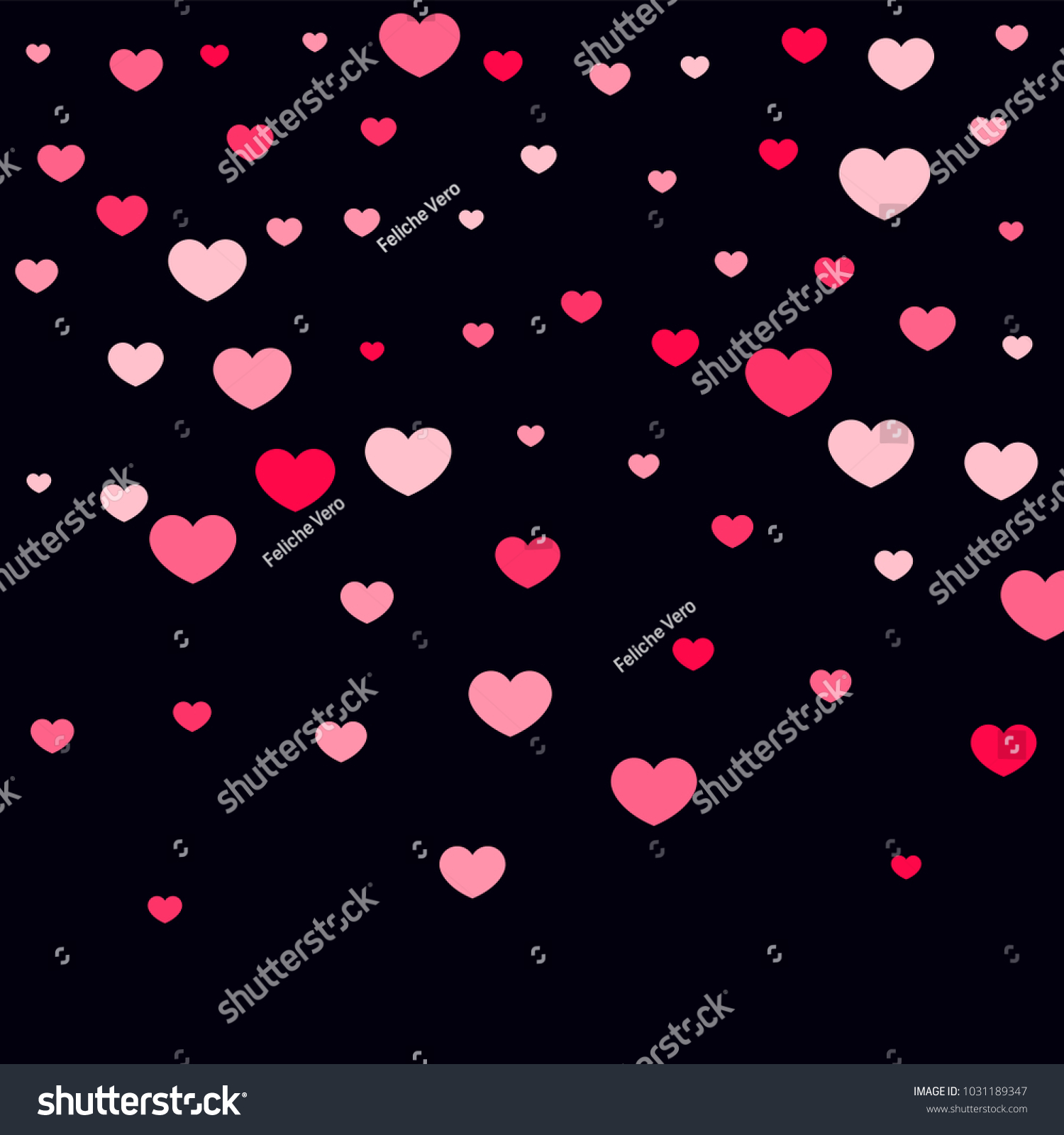 Pink Hearts Confetti Falling On Black Stock Vector Royalty Free 1031189347