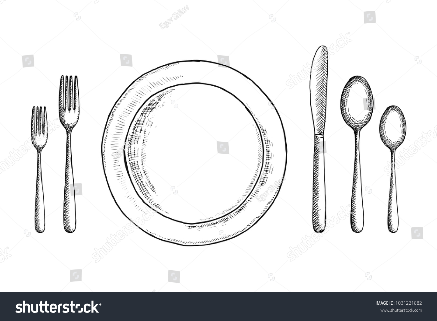 cutlery vector sketch set. spoon fork and knife near the plate. table setting  sc 1 st  Shutterstock & Cutlery Vector Sketch Set Spoon Fork Stock Vector 1031221882 ...