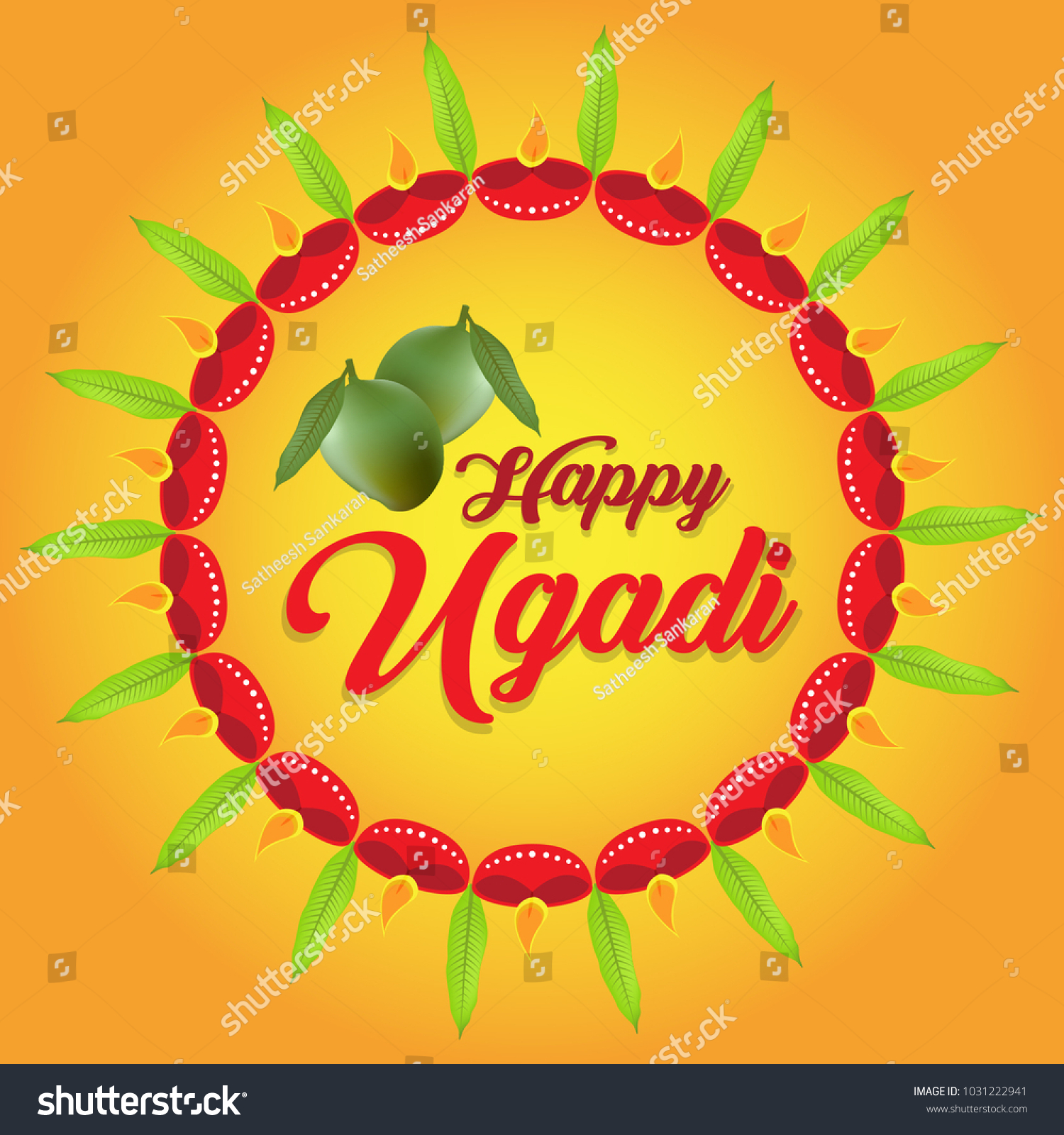 Creative Vector Illustration Hindu Festival Ugadi Stock Vector
