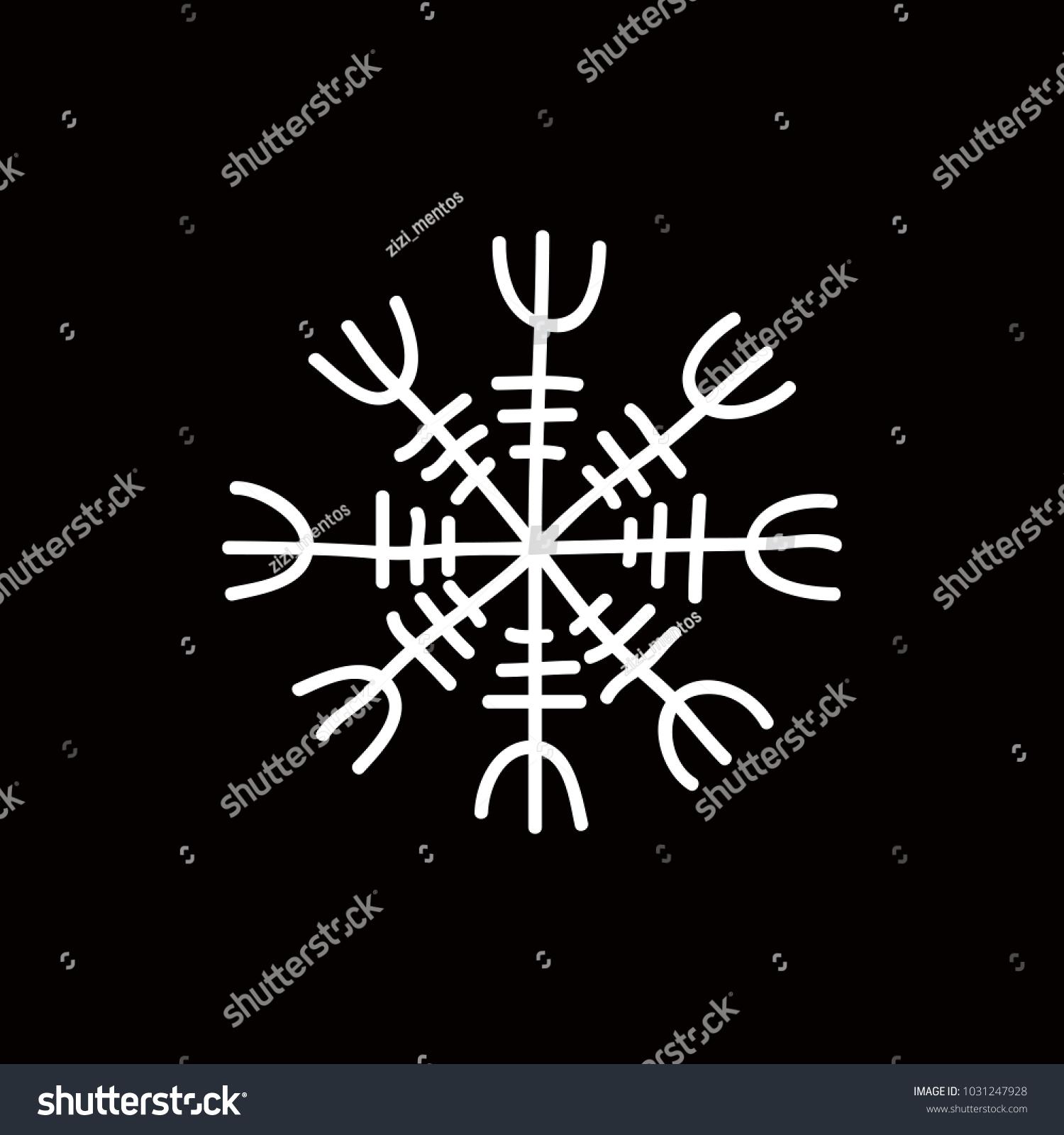 Icelandic magic runic sign aegishjalmur doodle stock vector icelandic magic runic sign aegishjalmur doodle icon buycottarizona Choice Image