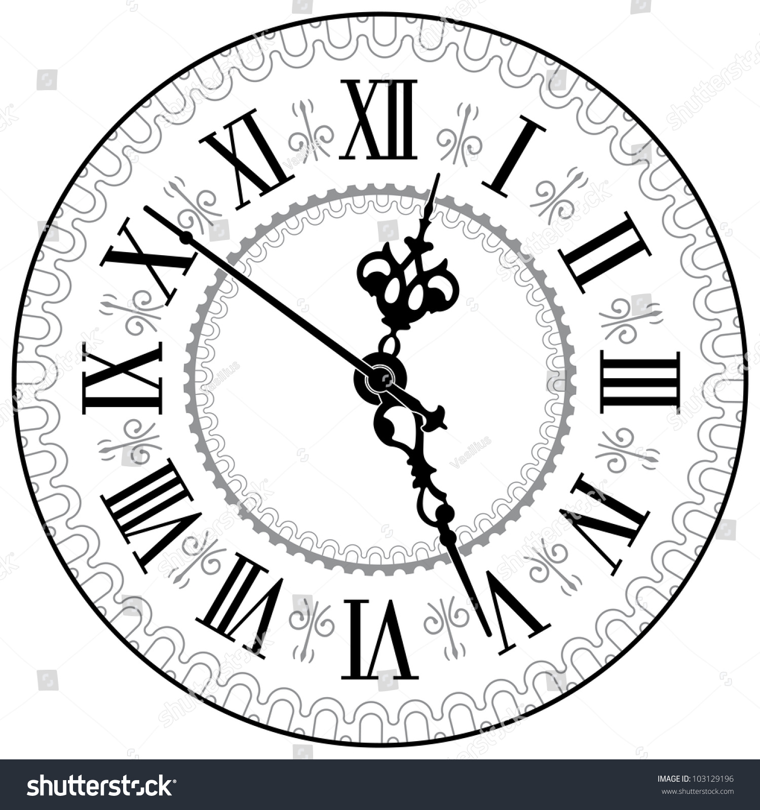 Antique Clock Vector Illustration Stock Vector 103129196