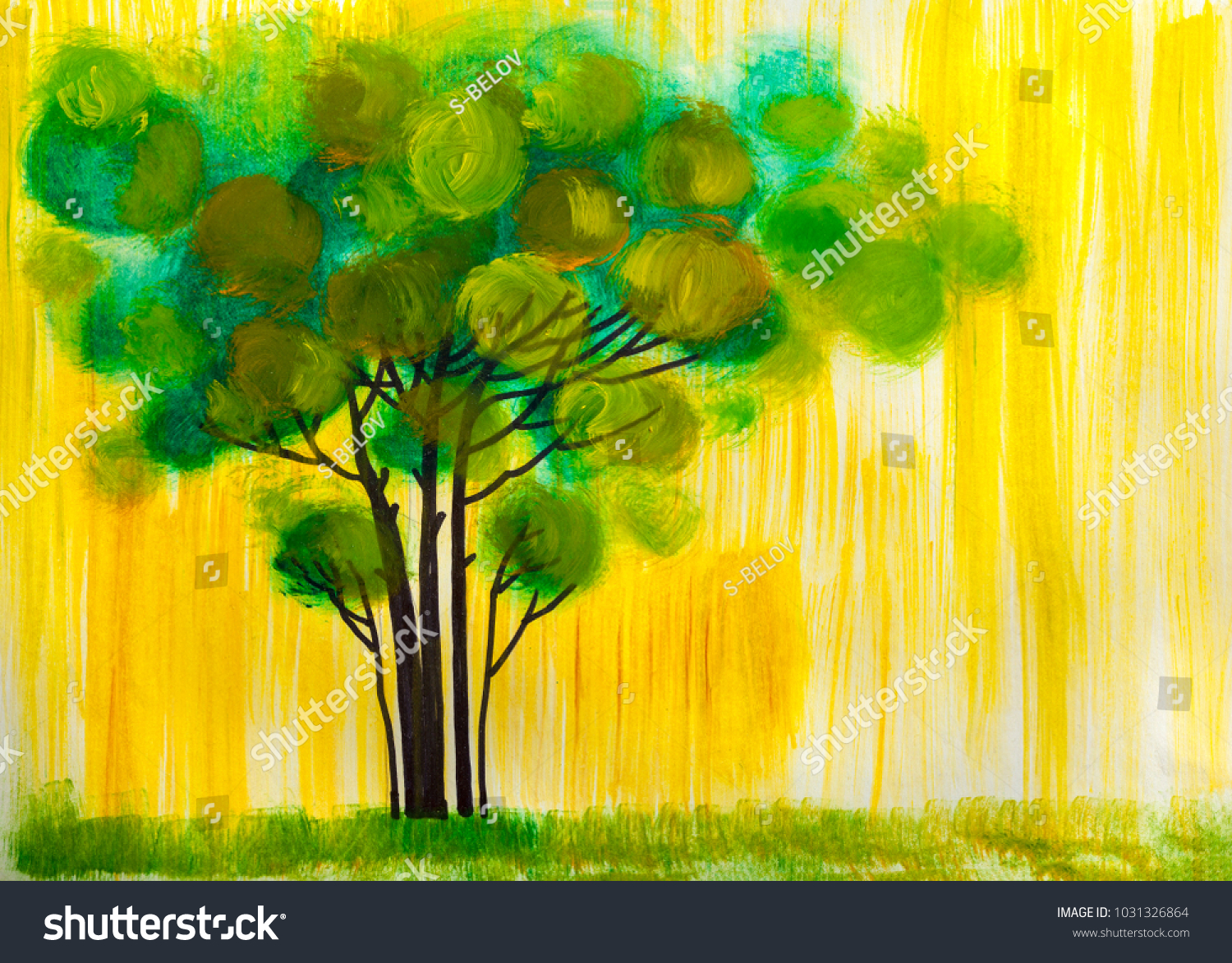 Oil Painting Landscape Colorful Tree Hand Stock Illustration ...