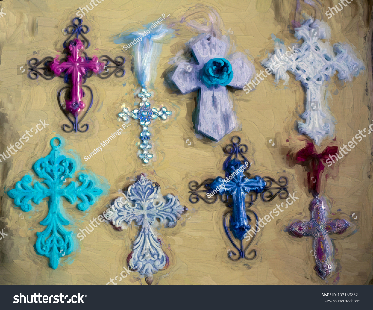 Crosses Hanging Metal Wooden Aqua Blue Stock Illustration 1031338621 ...