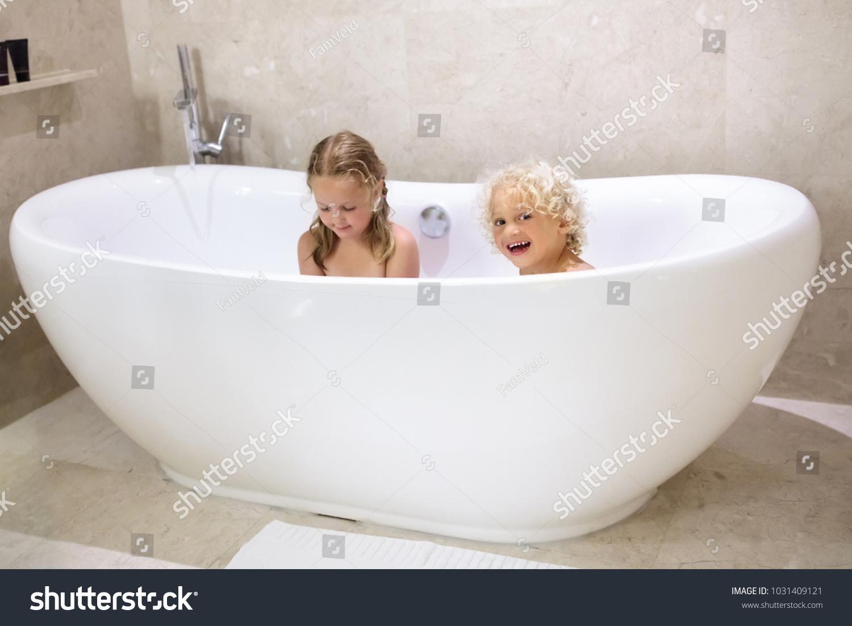 Kids Taking Bubble Bath Children Bathing Stock Photo (Edit Now ...