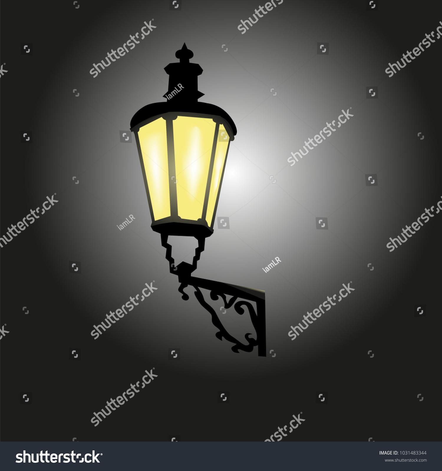 Ancient lantern street lights on wall stock vector 1031483344 ancient lantern street lights on the wall bright light at night aloadofball Gallery