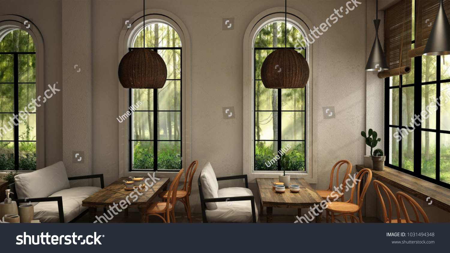 Interior design about cafe for dining area in modern style with plant chair table