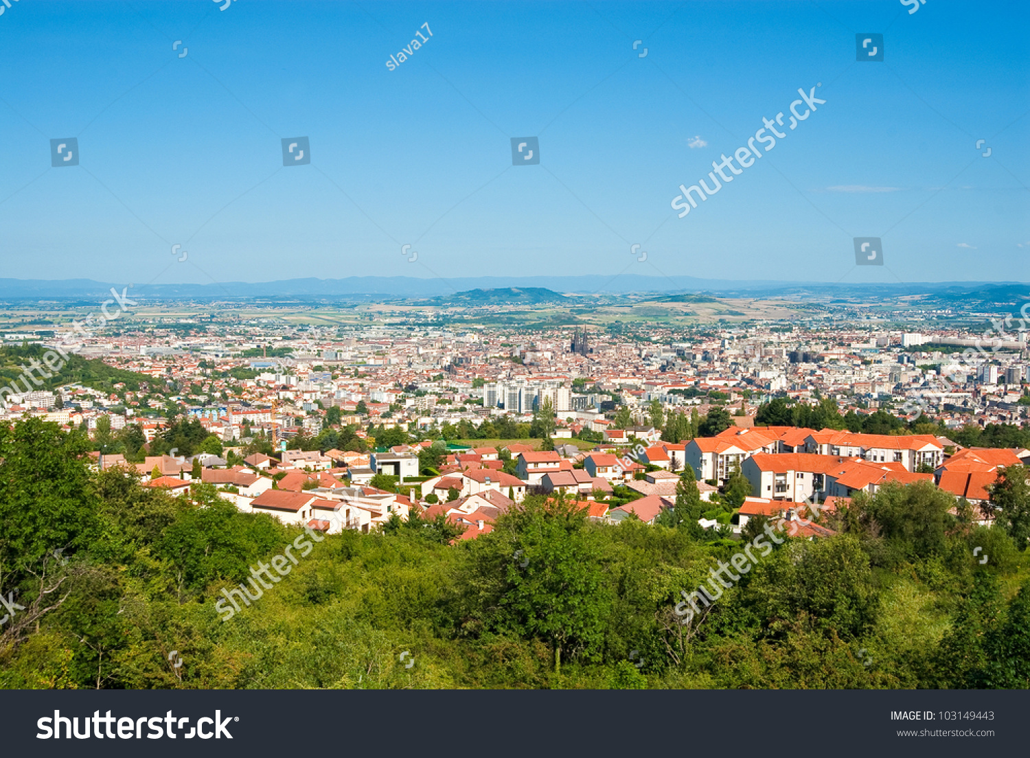 Panorama City Of Clermont-Ferrand And Auvergne Volcano National ...