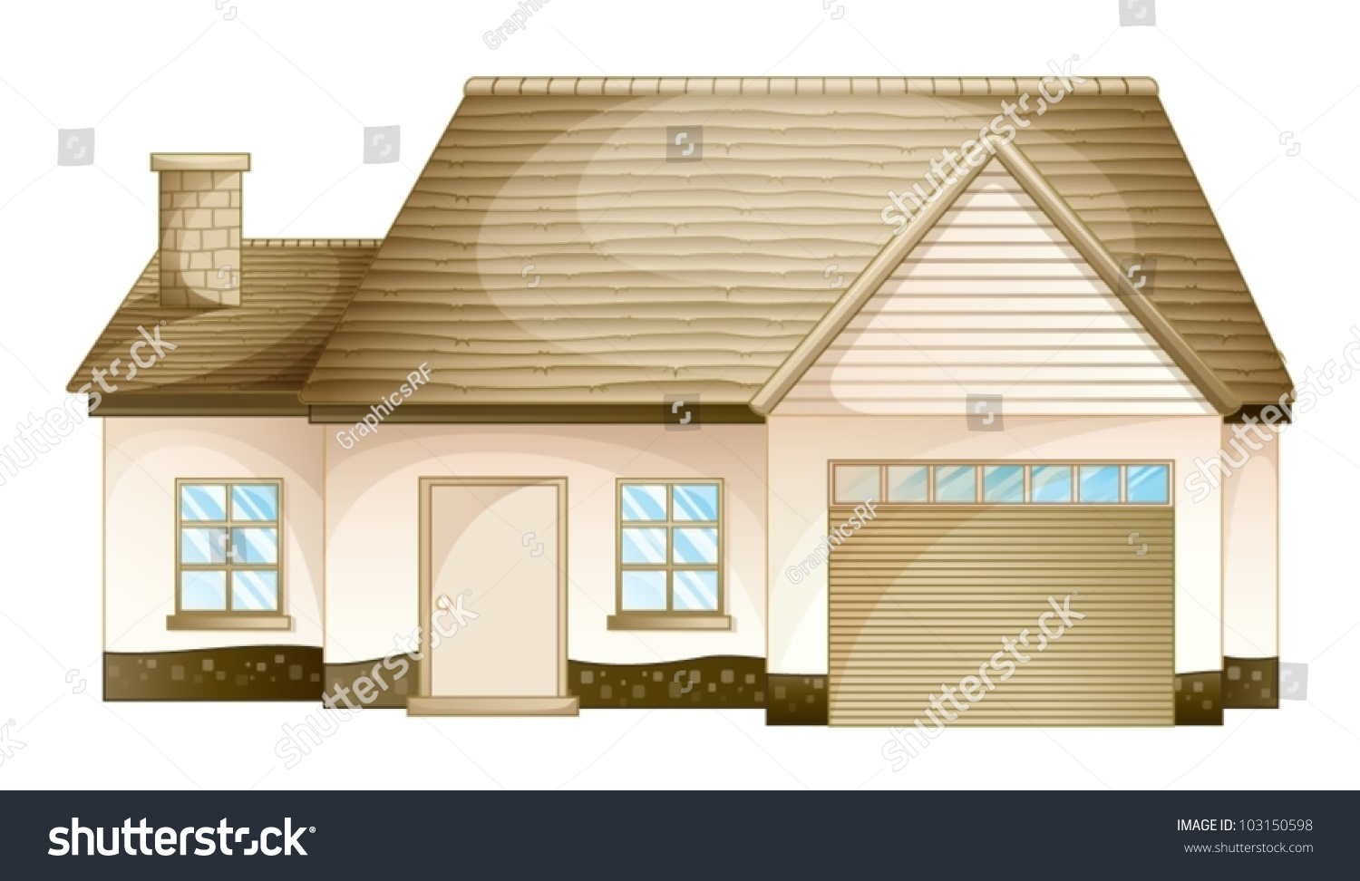 illustration simple house front view stock vector. Black Bedroom Furniture Sets. Home Design Ideas