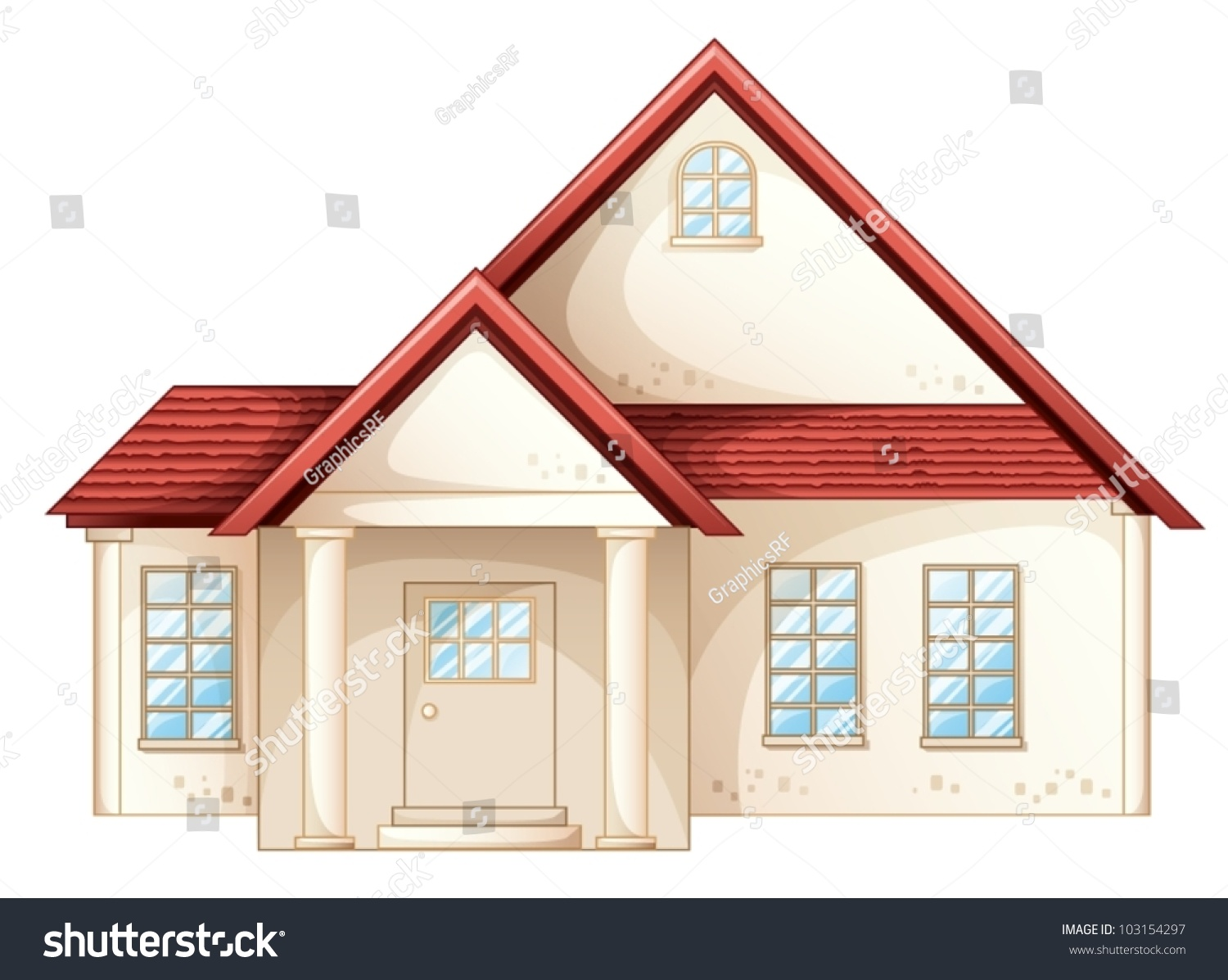Illustration a simple house front view. Illustration Simple House Front View Stock Vector 103154297