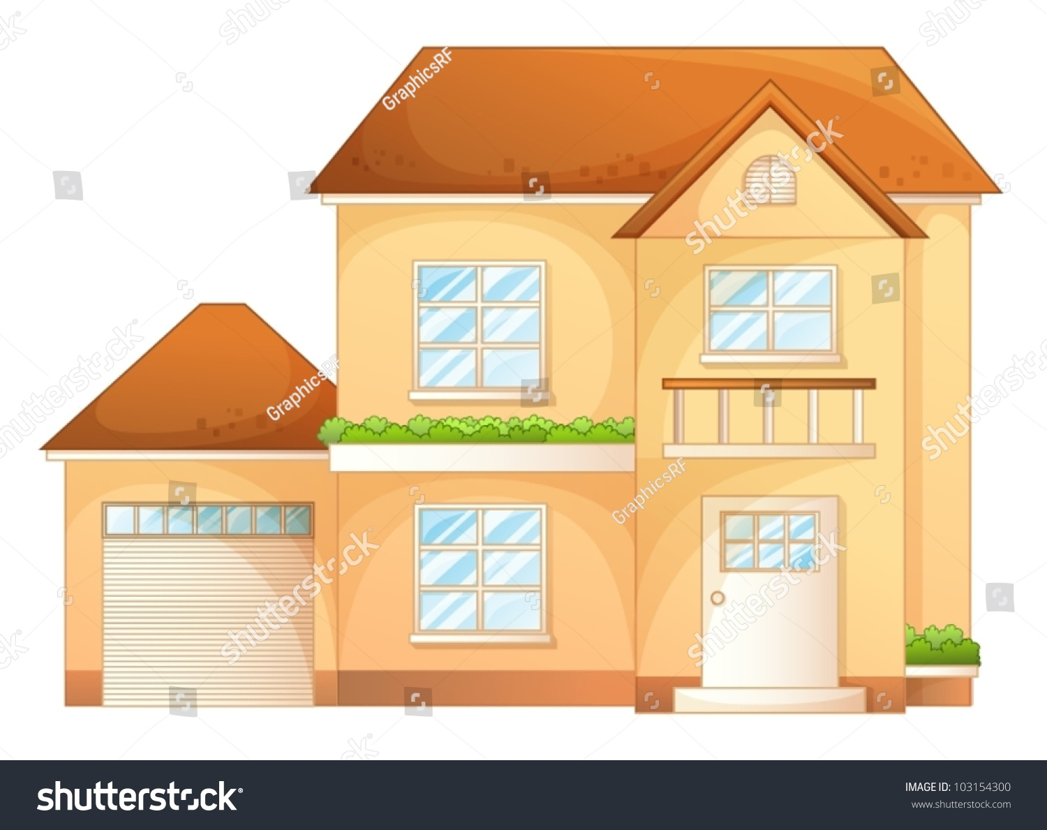 Illustration a simple house front view. Illustration Simple House Front View Stock Vector 103154300
