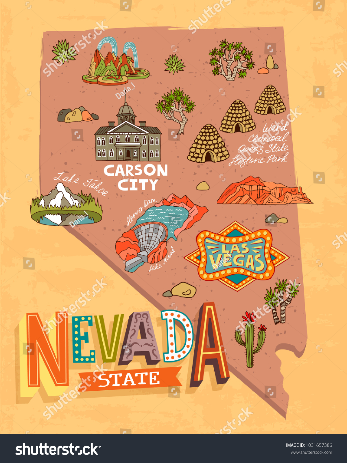 Illustrated Tourist Map Nevada Usa Travel Stock Vector (Royalty Free ...