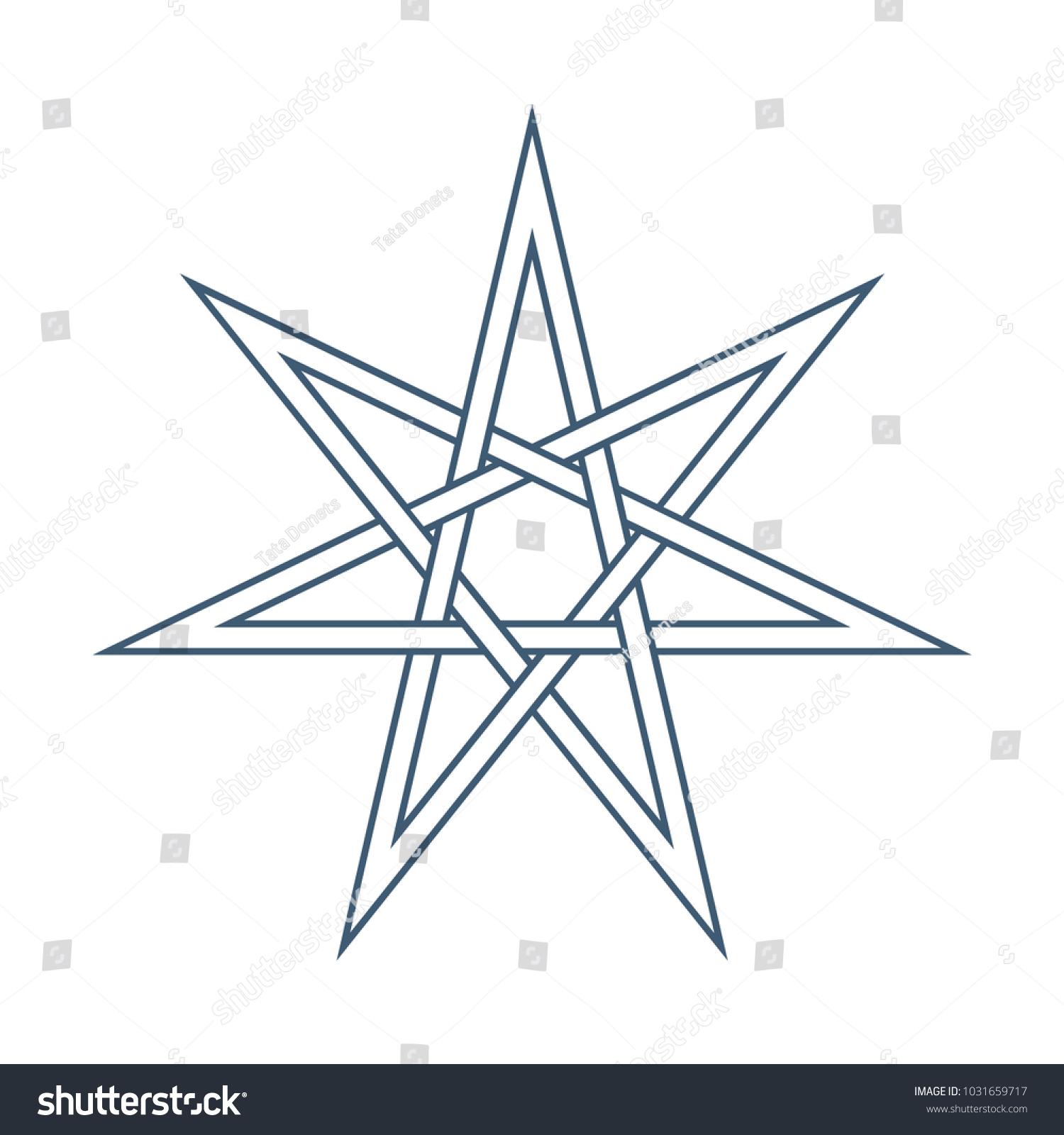 Seven Point Star Septagram Known Heptagram Stock Vector 1031659717 ...