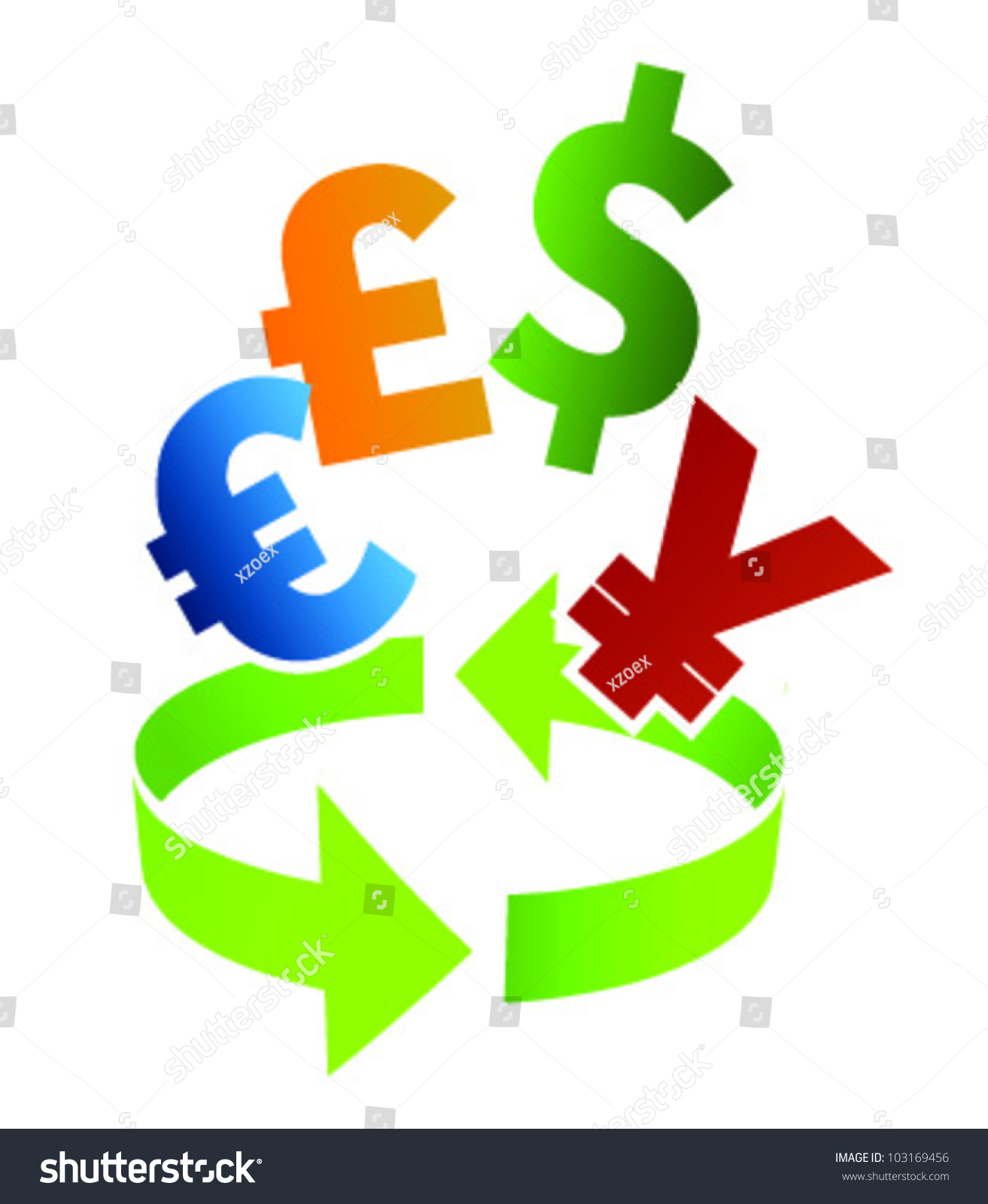 Illustration arrow different currency symbols dollar stock vector illustration with arrow and different currency symbols as dollar and euro biocorpaavc Image collections