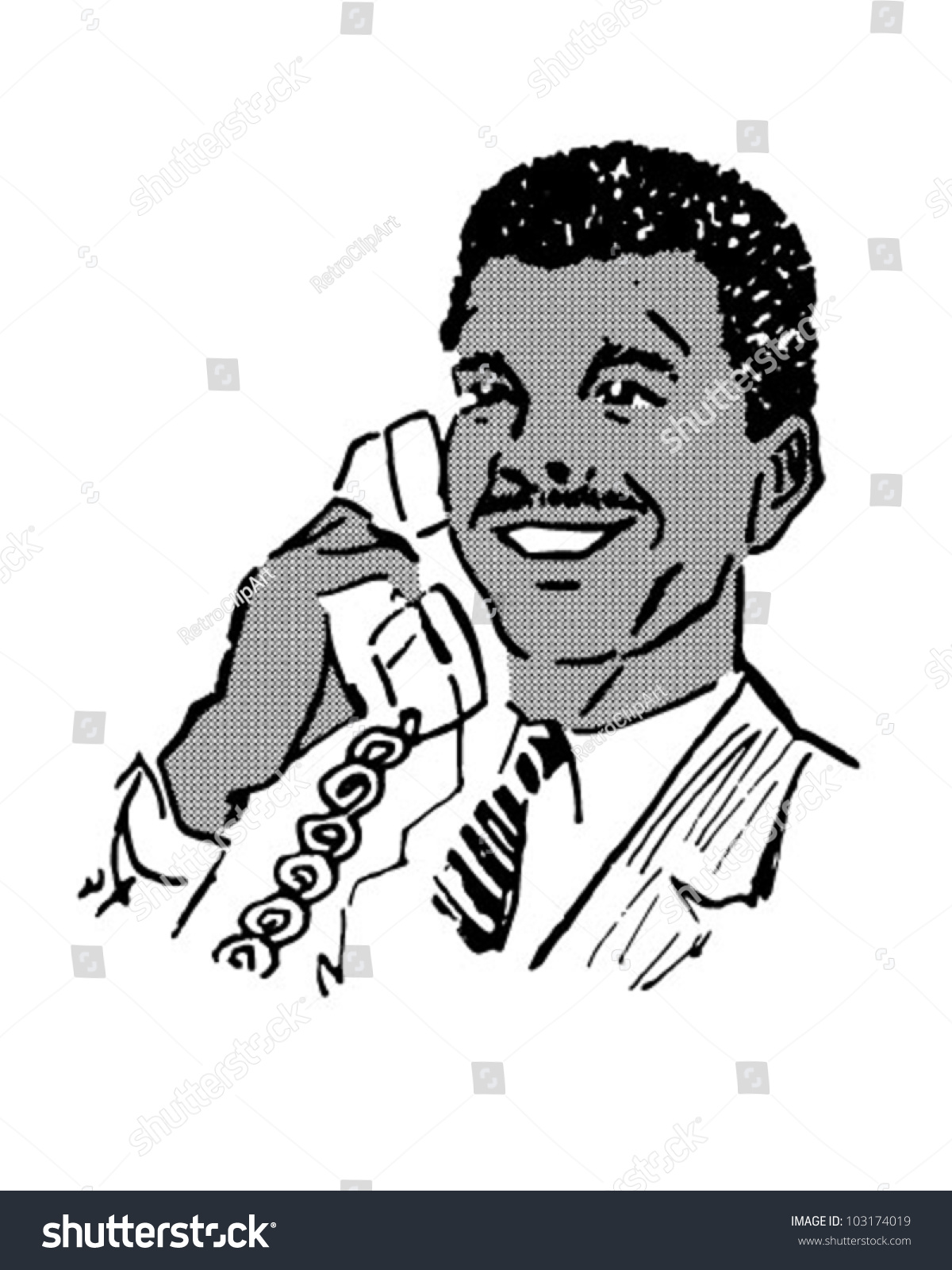 Man On The Phone 3 - Retro Clipart Illustration - 103174019 ...
