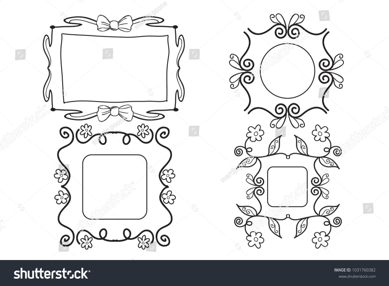 Set Nice Girly Frames Ribbon Flowers Stock Vector (2018) 1031760382 ...