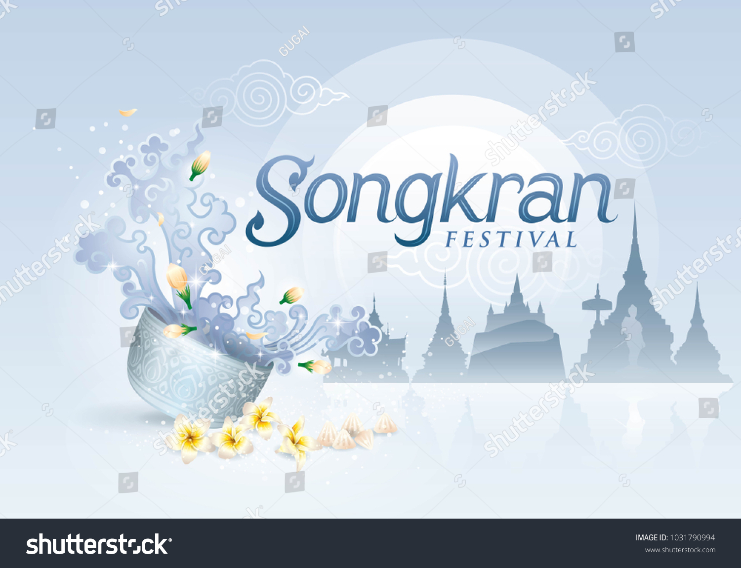 Songkran Festival in Thailand Vector, Thai traditional, Thai Water Splash with Jasmine Flowers, White frangipani tropical flower, plumeria flower blooming and White clay filler