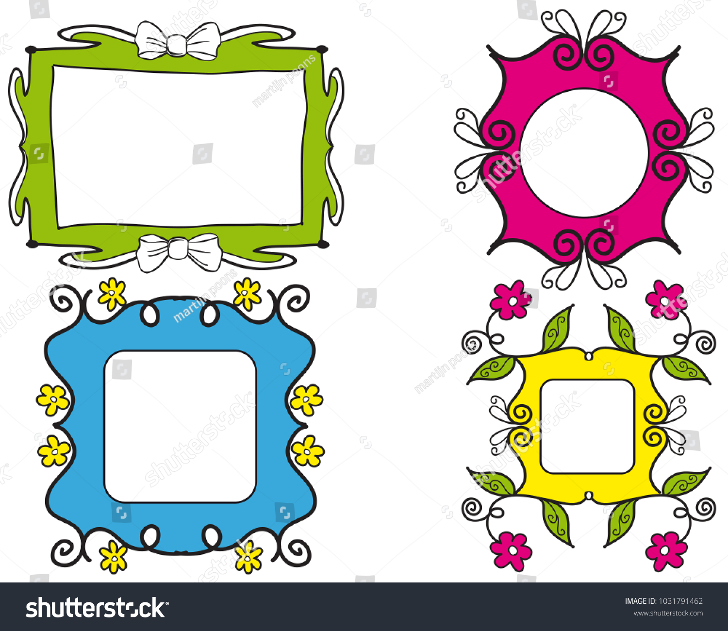 Set Colorful Girly Picture Frames Swirls Stock Vector 1031791462 ...