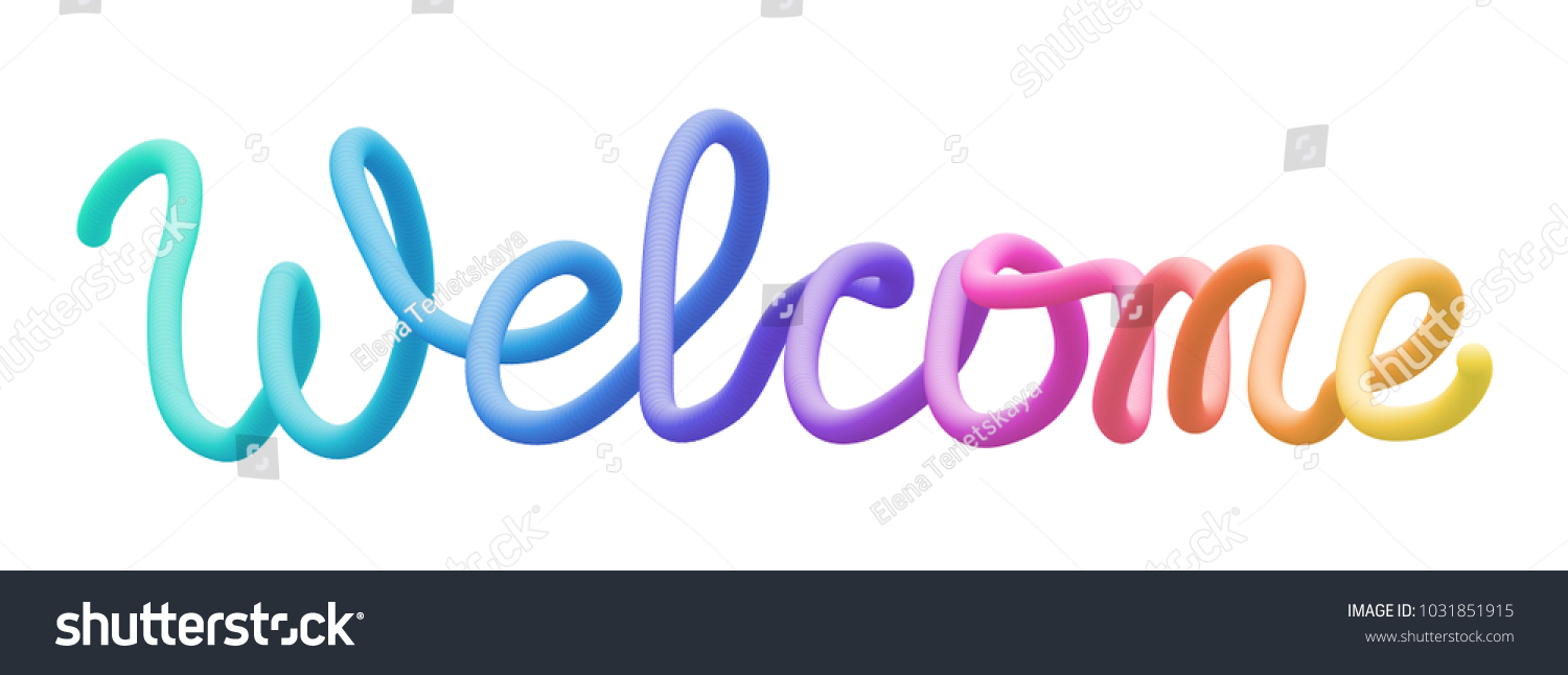 colorful stylized rainbow lettering inscription welcome stock vector