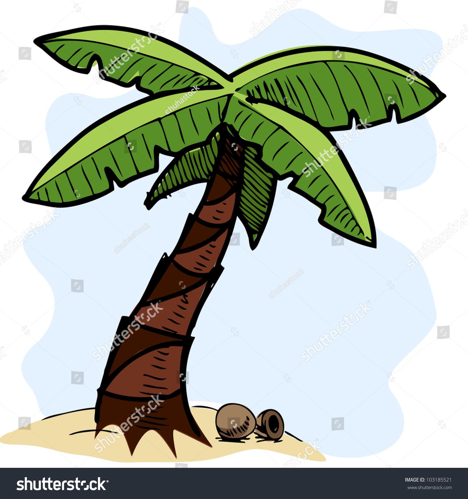 Tropical Palm Tree Coconuts Hand Drawing Stock Vector ...  Hawaiian Palm Tree Drawings