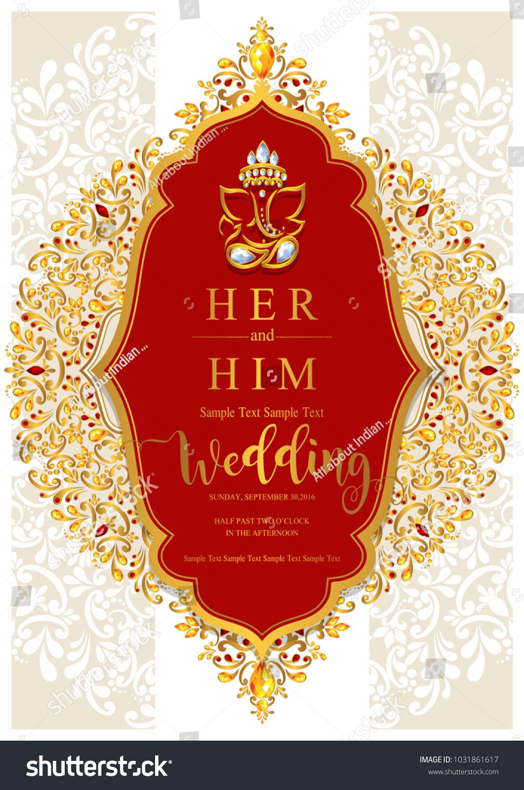 Indian Wedding Invitation Card Templates Gold Stock Vector ...