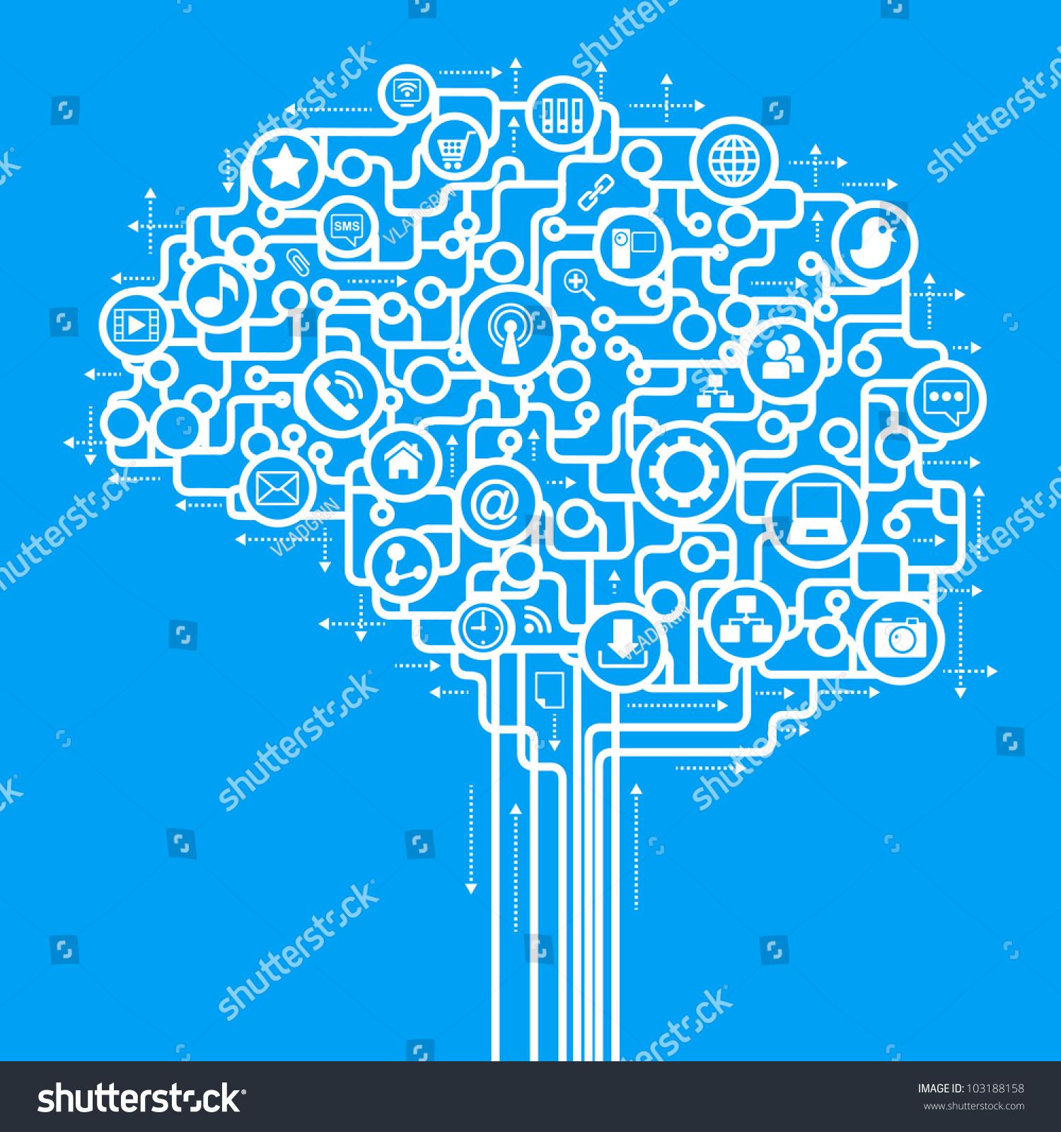 abstract human brain computer network social stock vector
