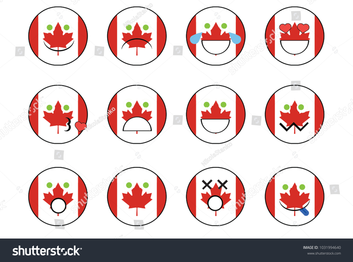 Set Canada Emoji Stock Illustration 1031994640