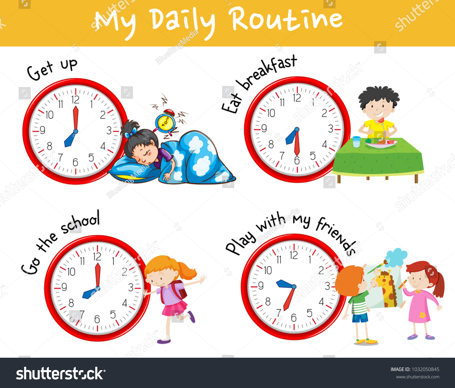 activity chart showing different daily routine stock vector royalty