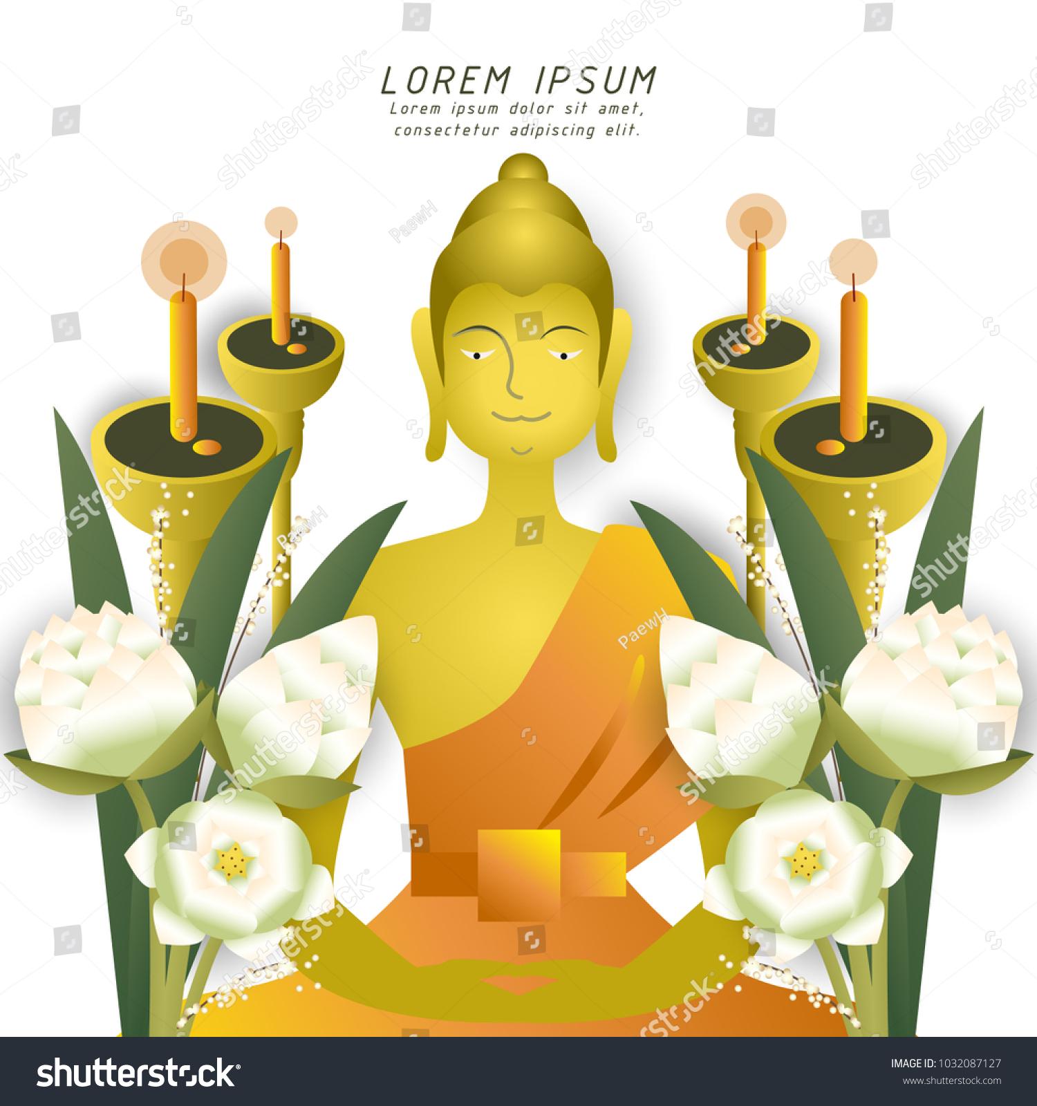Buddha Sitting Lotus Flower Bouquet Light Stock Photo Photo Vector