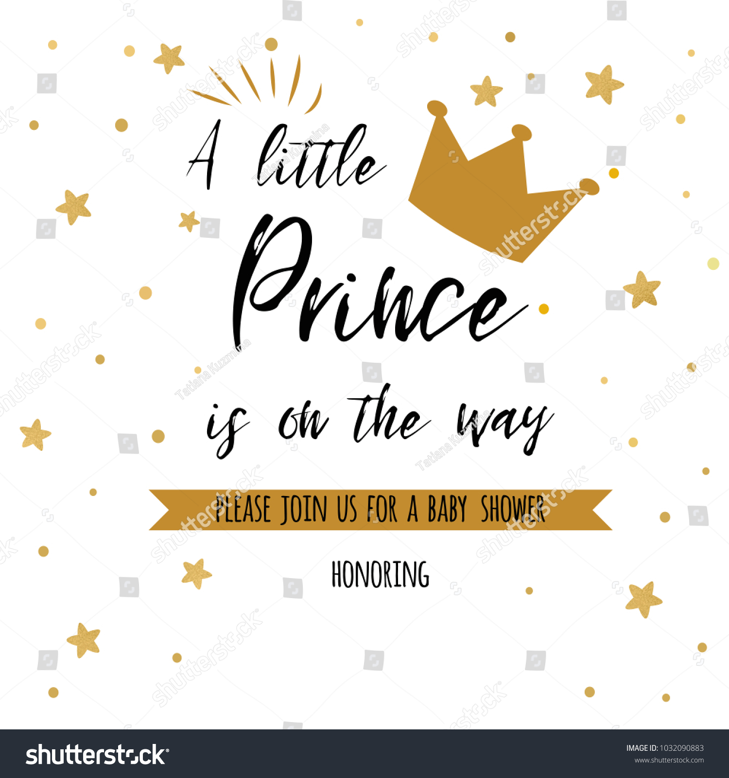 Text Little Prince On Way Gold Stock Vector 1032090883 - Shutterstock