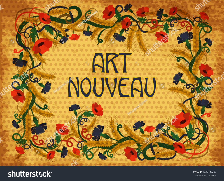 Floral Wheaten Wallpaper Art Nouveau Style Stock Vector Royalty