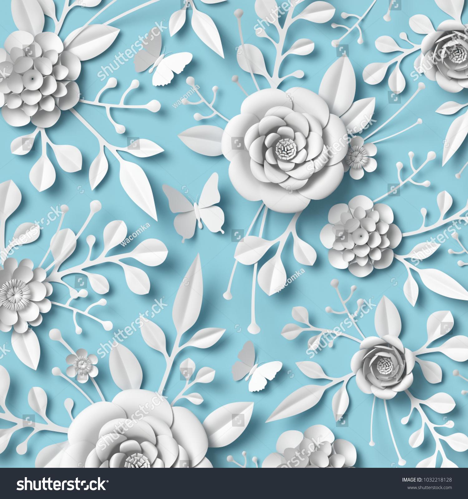 3 D Rendering White Paper Flowers On Stock Illustration 1032218128