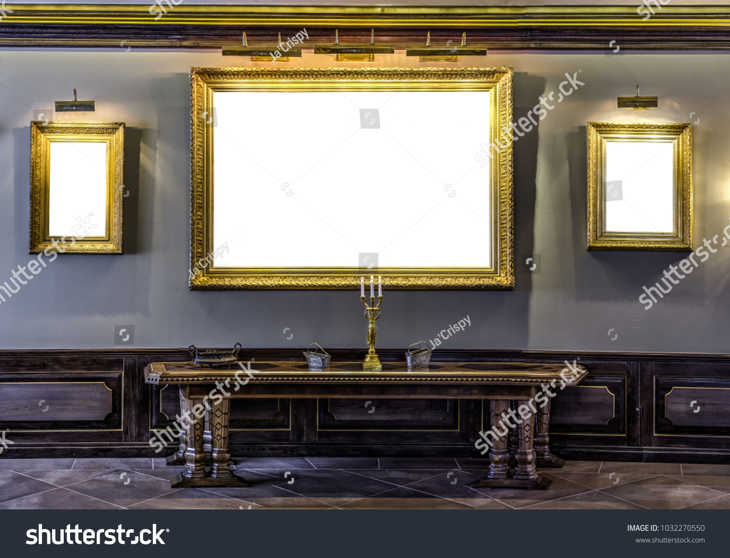 Empty Golden Frames On Wall Archaic Stock Photo 1032270550 ...