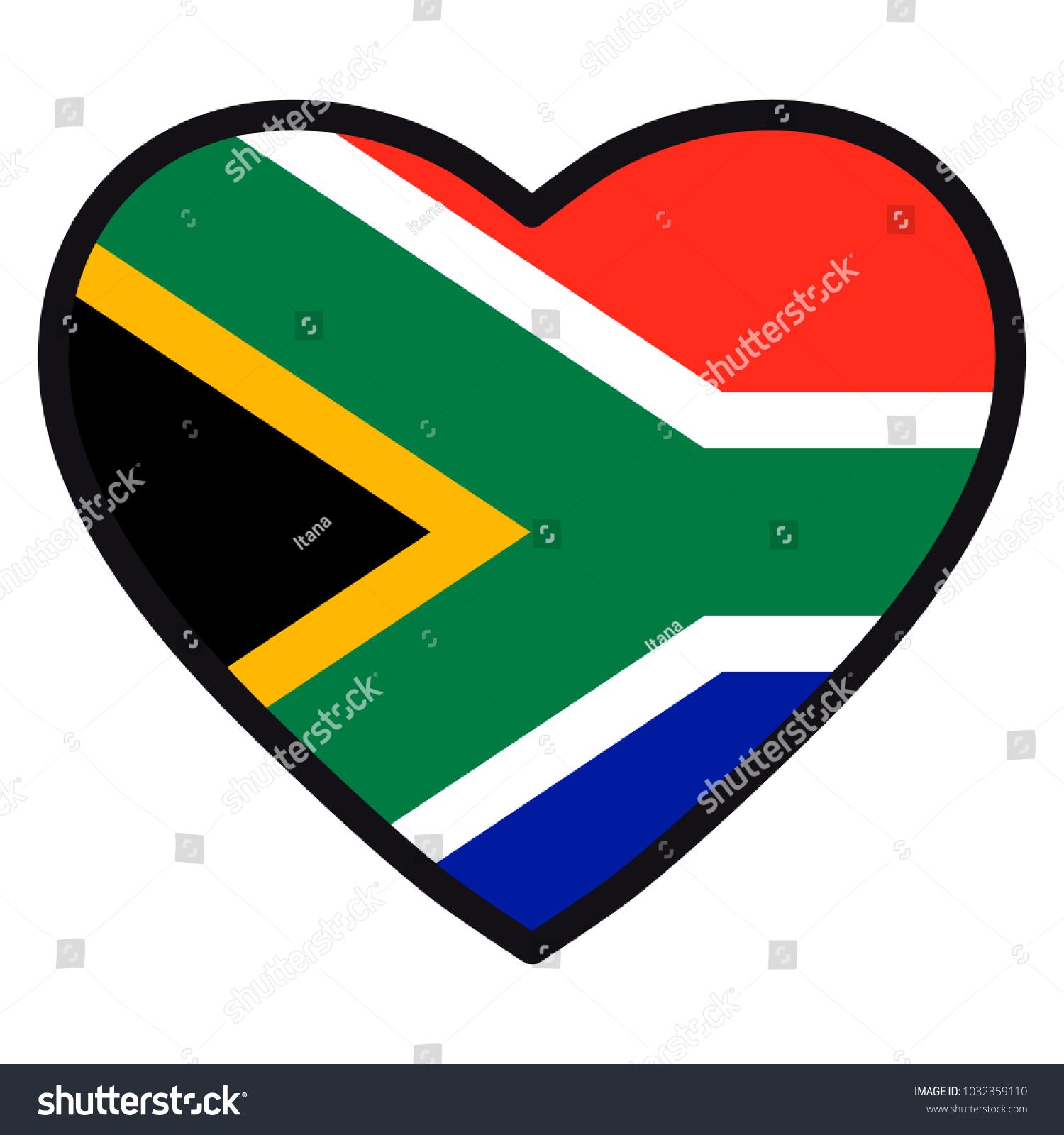 Flag South Africa Shape Heart Contrasting Stock Illustration