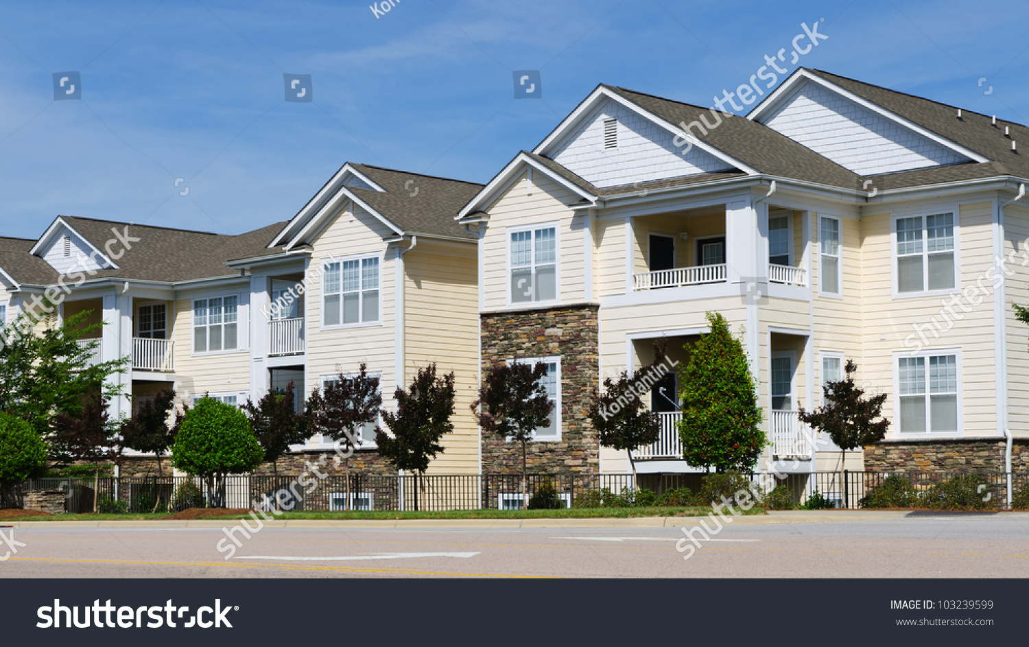 Typical apartment complex building suburban area stock for American housing builders