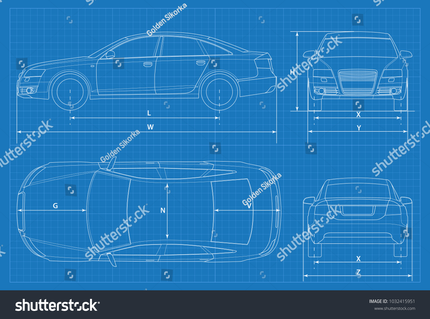 Car schematic or car blueprint. Vector illustration. Sedan car in outline.  Business sedan
