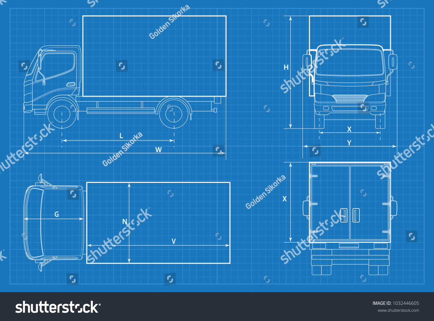 Car Schematic Wiring Library Blueprints Ford Mustang Engine Diagram Delivery Truck Or Van Blueprint Vector Illustration In Outline