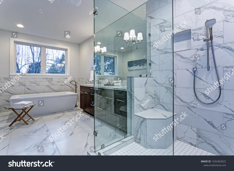 Incredible Master Bathroom Carrara Marble Tile Stock Photo (Edit Now ...