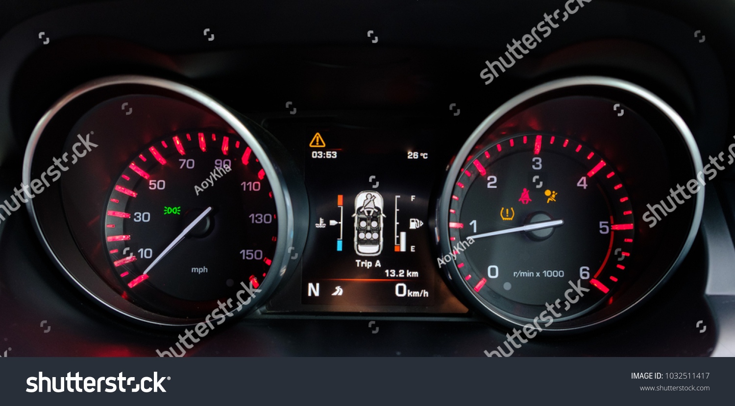 Dashboard Mileage Close Isolated On Black Stock Photo - Car image sign of dashboardcar dashboard sign multifunction display stock photo royalty