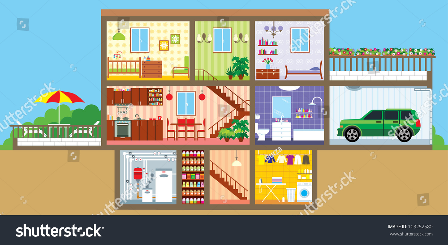 House Cut Vector Stock Vector 103252580 Shutterstock