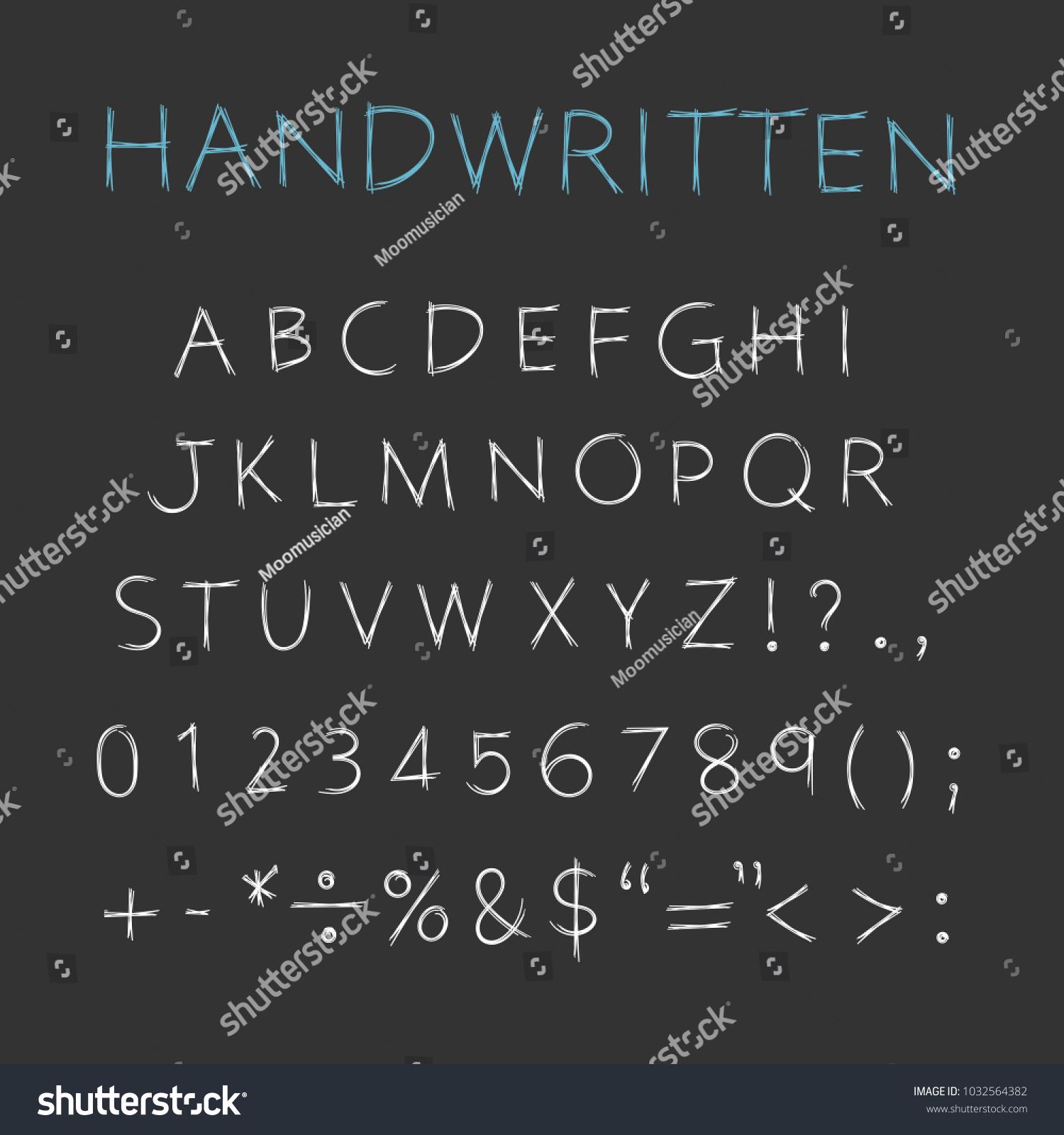 Handwritten Alphabet Capital Letters Symbols Vector Stock Vector