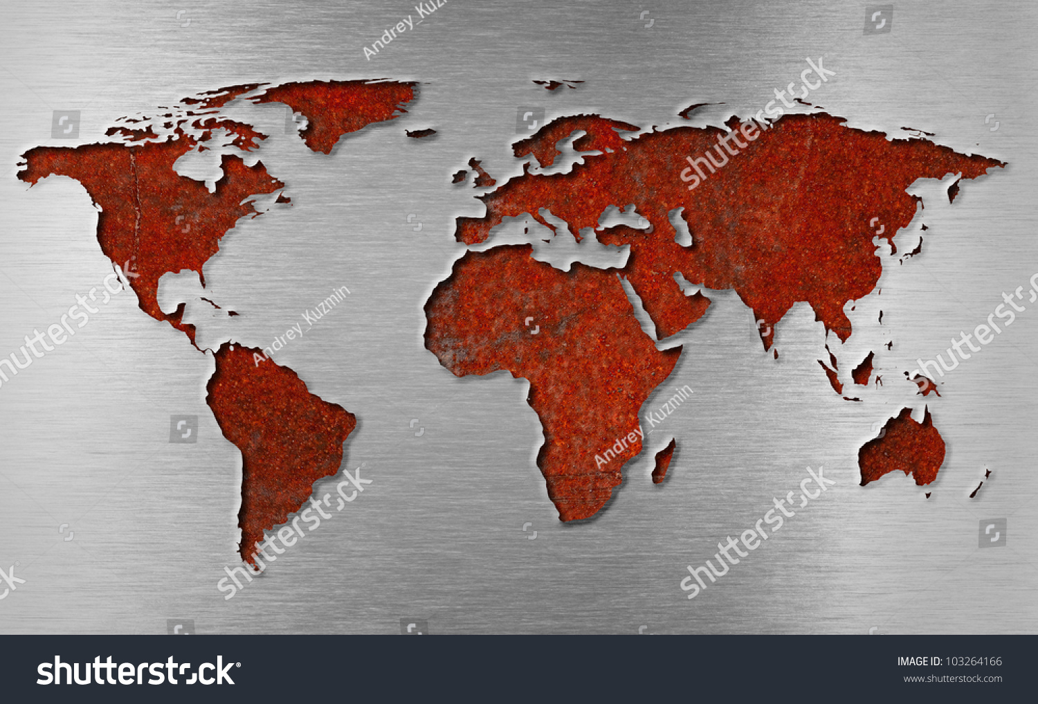 rusty metal world map concept stock photo 103264166 shutterstock. Black Bedroom Furniture Sets. Home Design Ideas