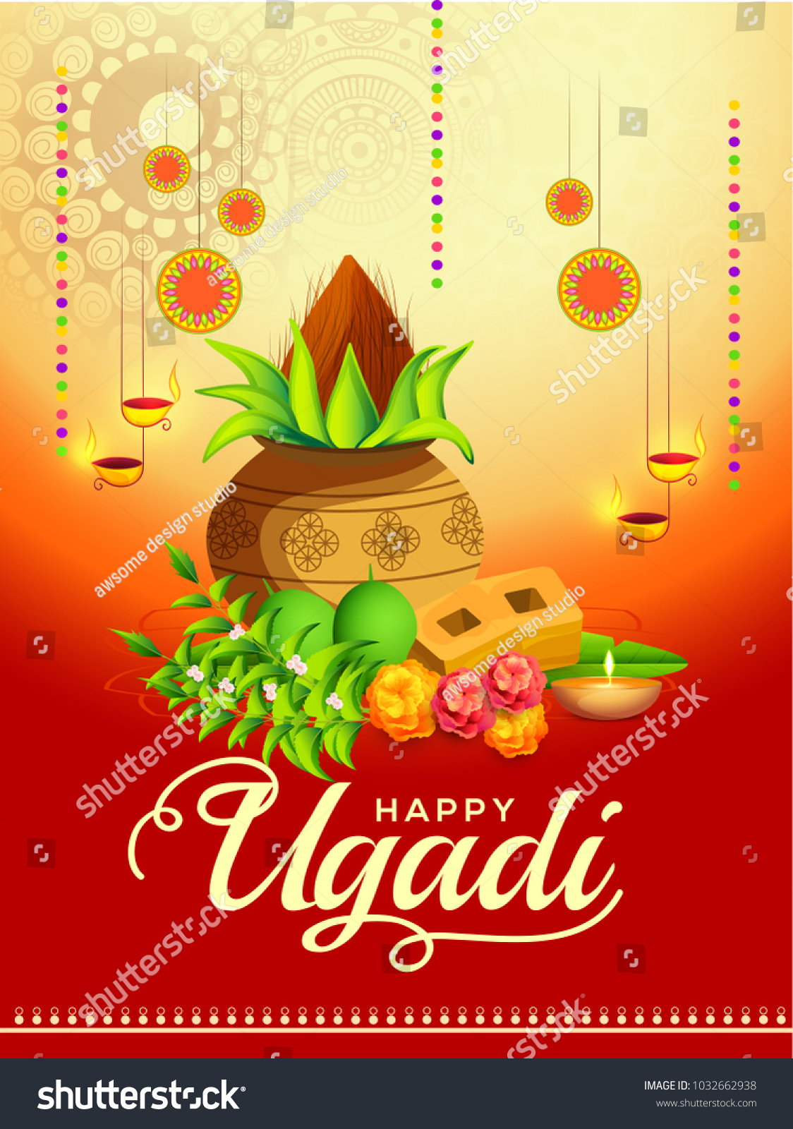 Illustration happy ugadi greeting card background stock vector illustration of happy ugadi greeting card background with decorated kalash kristyandbryce Images