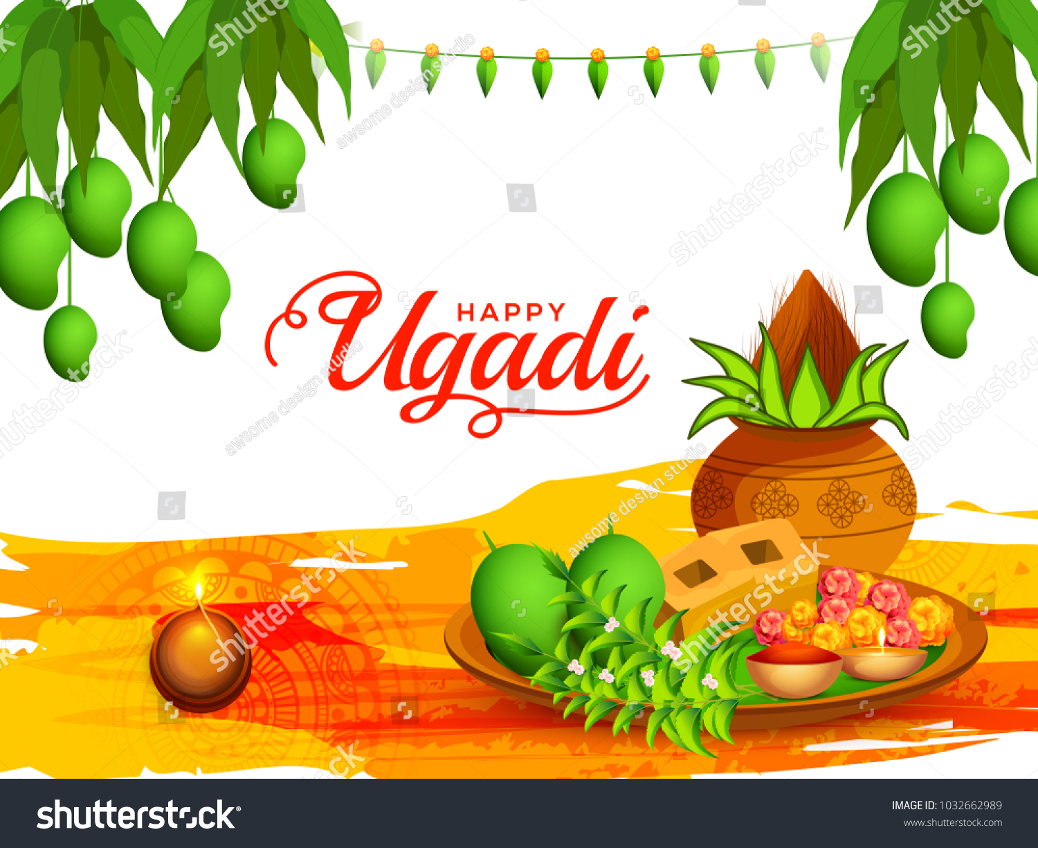 Illustration Happy Ugadi Greeting Card Background Stock Vector