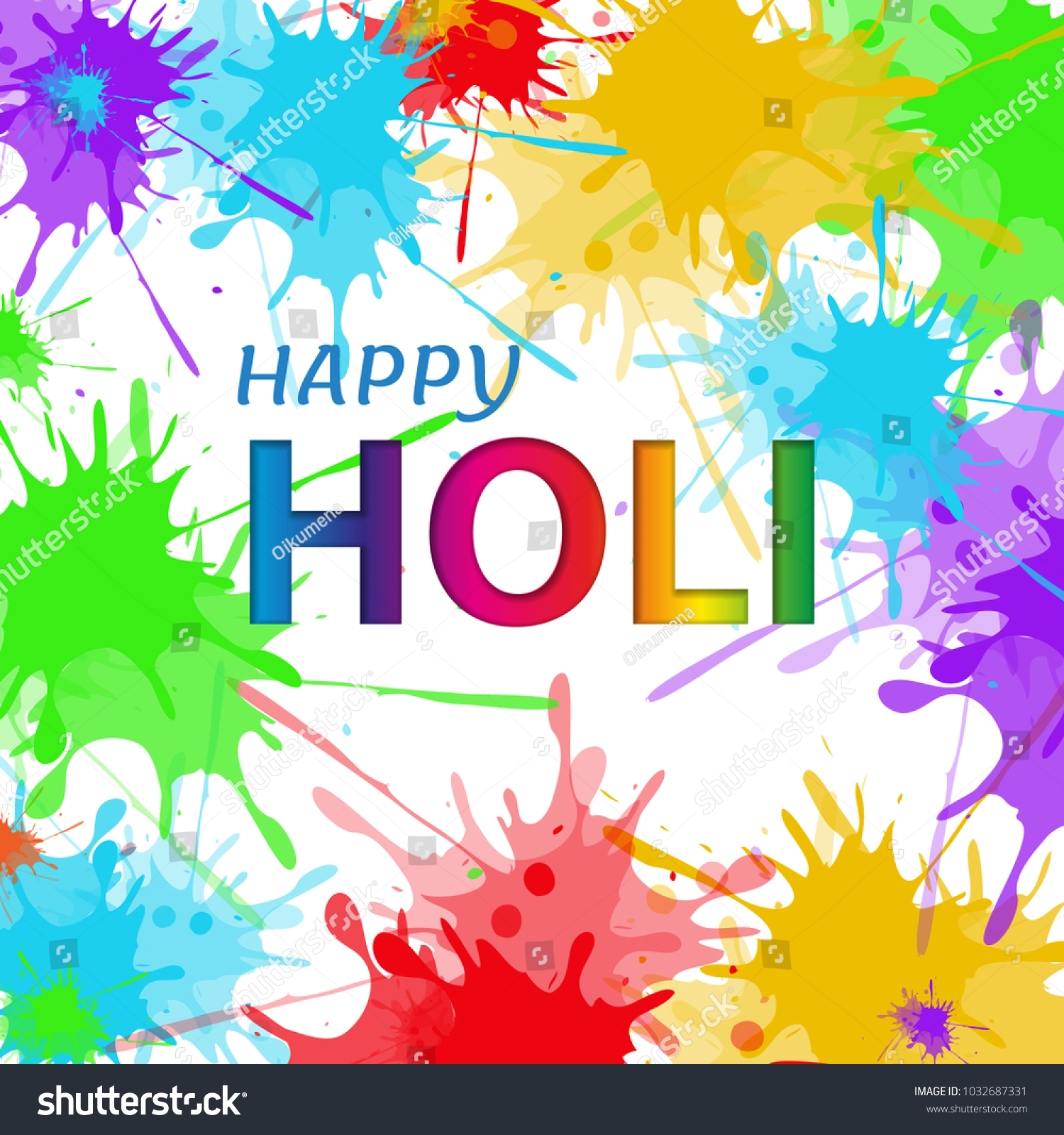 Happy holi spring festival greeting flowers stock vector 1032687331 happy holi spring festival greeting flowers vector background with realistic watercolor paint and sample text kristyandbryce Image collections