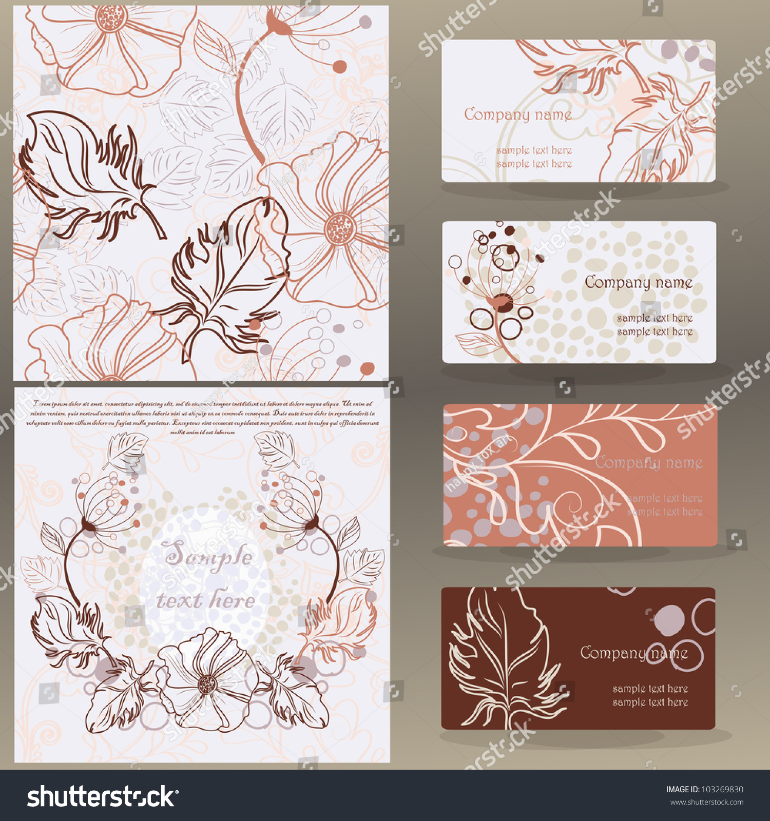 Set Vector Floral Designs Business Cards Stock Vector 103269830 ...