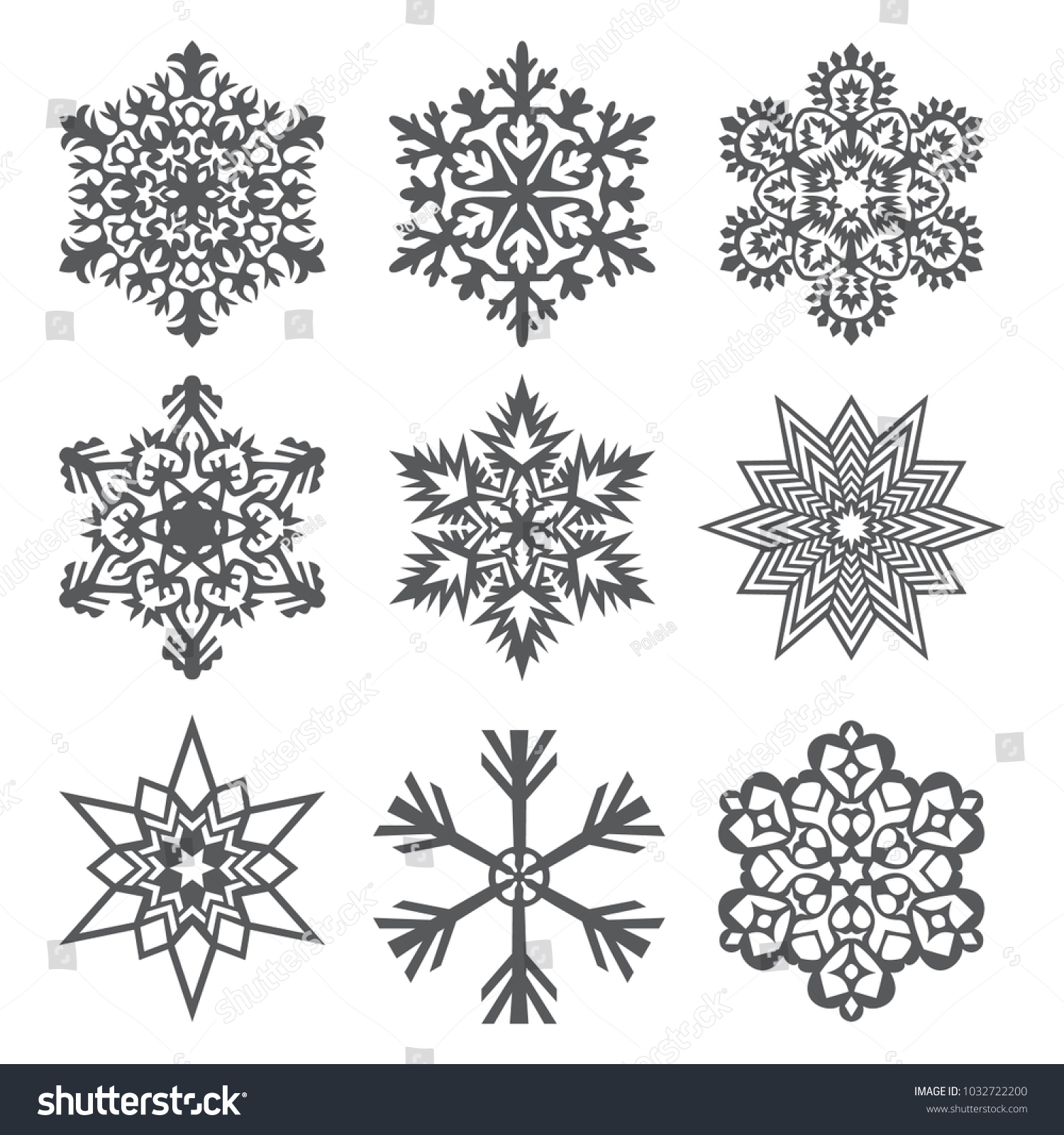 Snowflakes Template | Set Laser Cutting Openwork Snowflakes Template Stock Vector Royalty