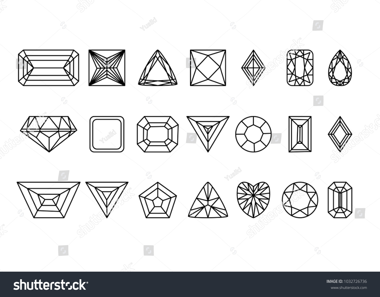 Collection Gems Gemstones Types Diamond Cutting Stock Vector ...