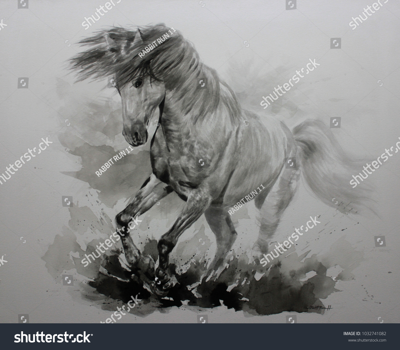 Acrylic Painting Horse On Canvas Draw Stock Illustration 1032741082